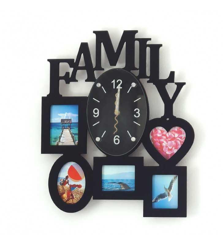 Nowoczesny zegar ścienny ramki  na zdjęcia FAMILY czarny