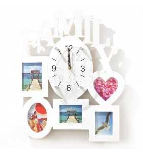 Nowoczesny zegar ścienny ramki  na zdjęcia FAMILY biała