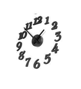 Zegar ścienny  3D DIY czarny  do 50 cm