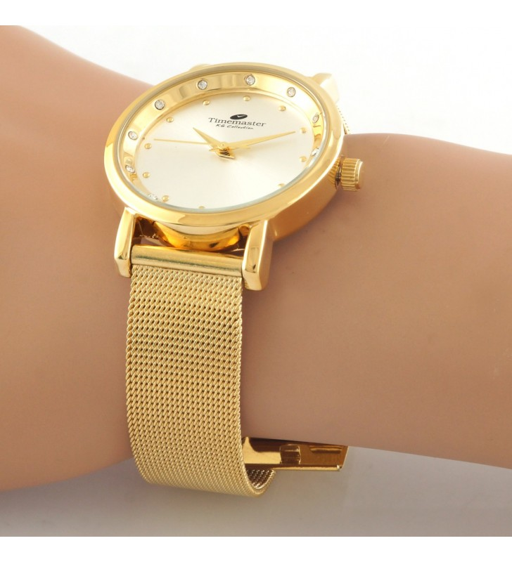 Zegarek damski Timemaster , złoty na siatce