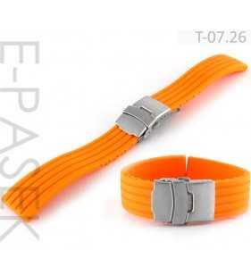 Pasek do zegarka gumowy Tekla T-07.26 pomarańczowy