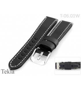 18 - 22 mm Pasek do zegarka skórzany Tekla T-06.01W czarny pasek z białym przeszyciem,
