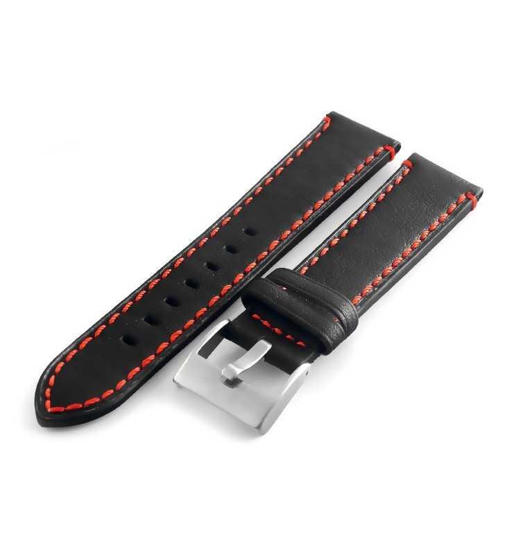18 mm Pasek do zegarka skórzany Tekla T-06.01R  czarny z czerwonym przeszyciem,