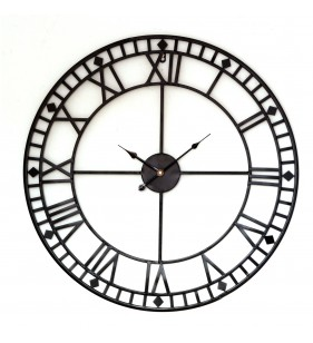 Metalowy zegar ścienny VINTAGE Shabby LOFT 80 cm czarny