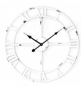 Metalowy zegar ścienny VINTAGE Shabby LOFT 45 cm biały