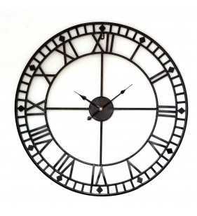 Zegar ścienny retro metalowy LOFT czarny 60 cm