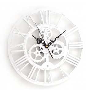Nowoczesny zegar ścienny VINTAGE SHABBY LOFT 33 cm srebrny