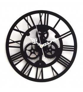 Nowoczesny zegar ścienny VINTAGE SHABBY LOFT 33 cm czarny