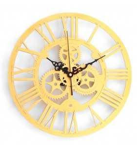 Nowoczesny zegar ścienny VINTAGE SHABBY LOFT 33 cm złoty
