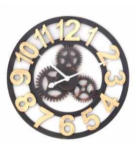 Zegar ścienny loft drewniany złoty