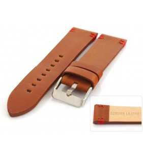 Skórzany pasek  PACIFIC W110.03R  jasno brązowy z czerwonym przeszyciem