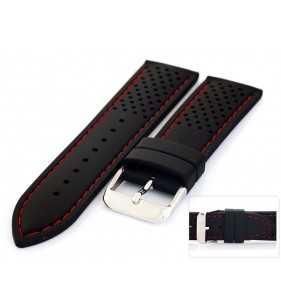 Pasek do zegarka kauczukowy HORIDO 015.01R czarny z czerwonym przeszyciem