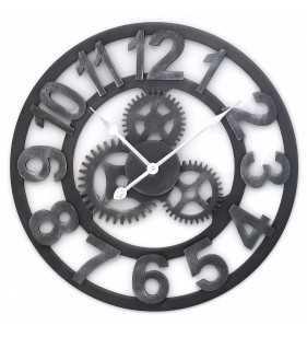 Duży zegar ścienny loft czarny