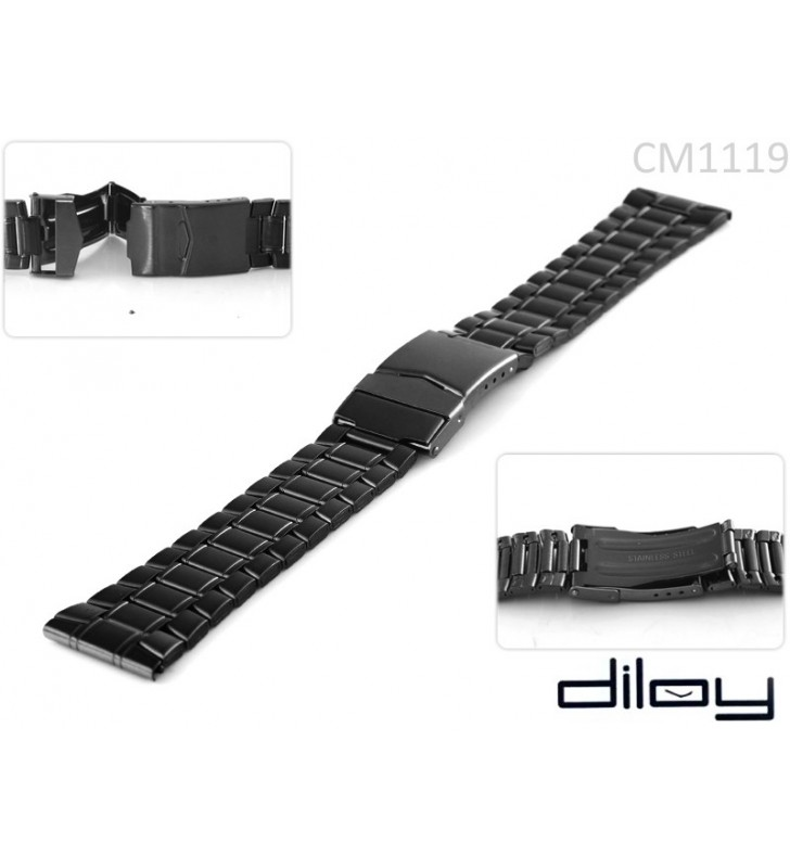 Bransoleta stalowa do zegarka Diloy CM1119 czarna
