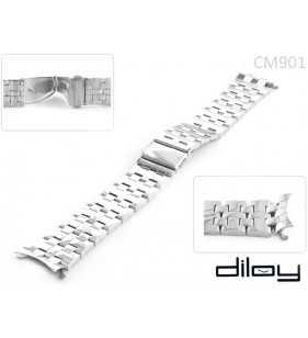 Bransoleta stalowa do zegarka Diloy CM901C srebrna błyszcząca w rozmiarze 20 mm