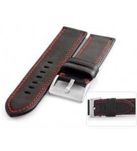 Pasek do zegarka skórzany Tekla T-025.01R, pasek czarny z czerwonym przeszyciem