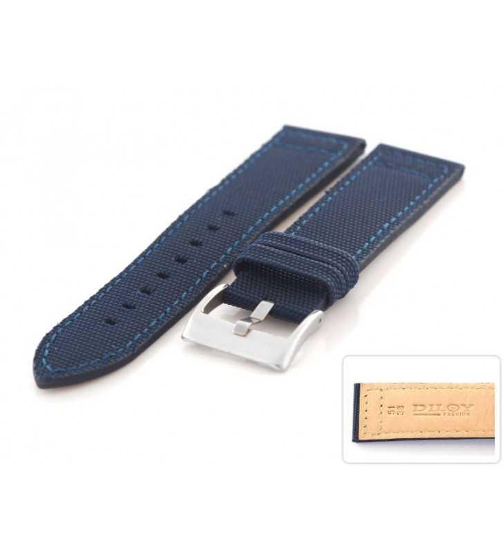 0464856c84fdaa Pasek skórzany CEVLAR do zegarka DILOY 416.5 niebieski