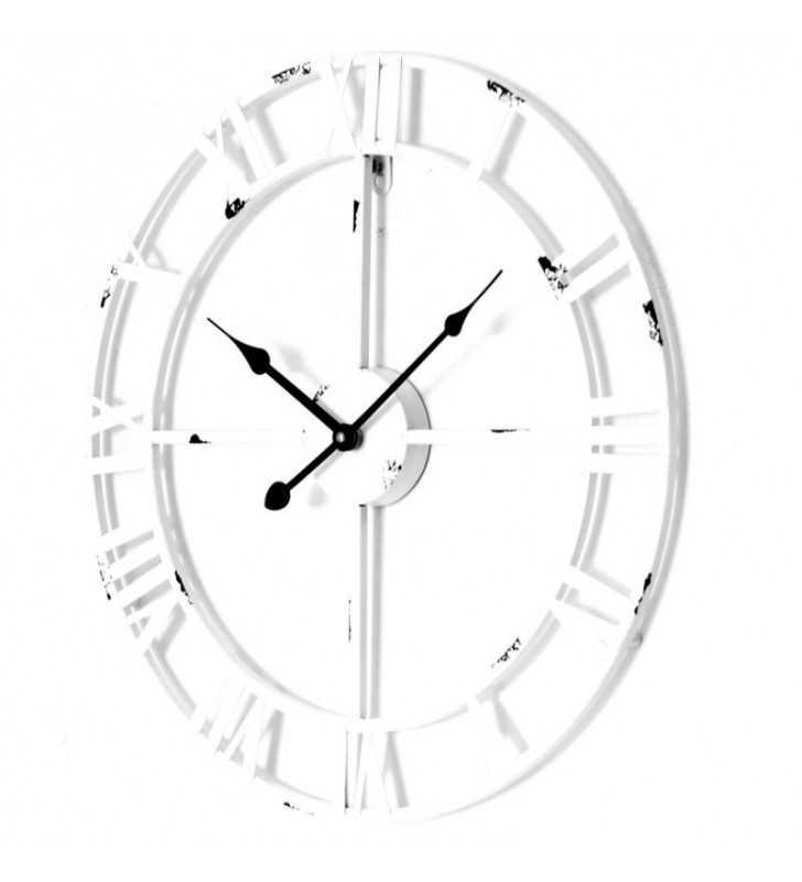 Metalowy zegar ścienny VINTAGE Shabby LOFT 45 cm biały - dekoracyjny zegar wiszący - wyposażenie wnętrz