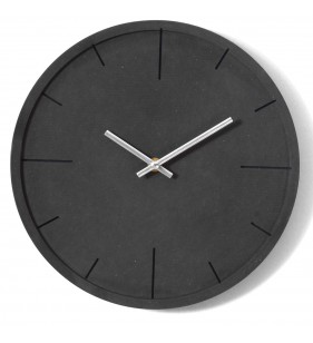 Nowoczesny zegar ścienny ECOBOARD czarno-srebrny minimalistyczny