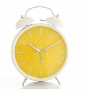 Budzik retro BIG 33 CM  biało-żółty