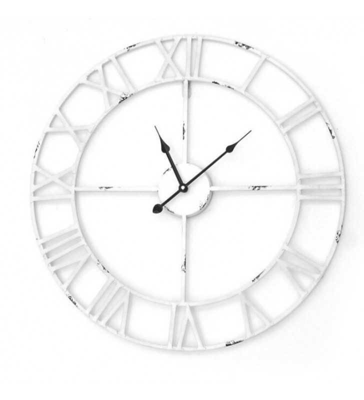 Metalowy zegar ścienny VINTAGE Shabby LOFT 58 cm biały - dekoracyjny zegar wiszący - wyposażenie wnętrz