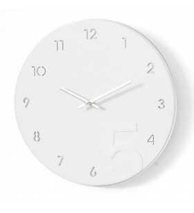 Nowoczesny zegar ścienny minimalistyczny biało-srebrny