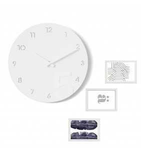 Nowoczesny zegar ścienny ramki na zdjęcia biały