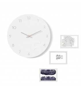 Nowoczesny zegar ścienny ramki na zdjęcia biało-srebrny