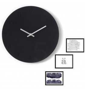 Nowoczesny zegar ścienny ramki na zdjęcia czarno-srebrny