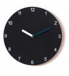 Nowoczesny zegar ścienny Happy Hour Black, czarny zegar z turkusowym dodatkiem