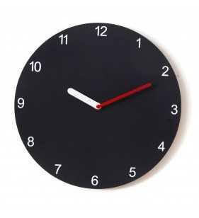 Nowoczesny zegar ścienny Happy Hour Black, czarny zegar z czerwonymi dodatkami