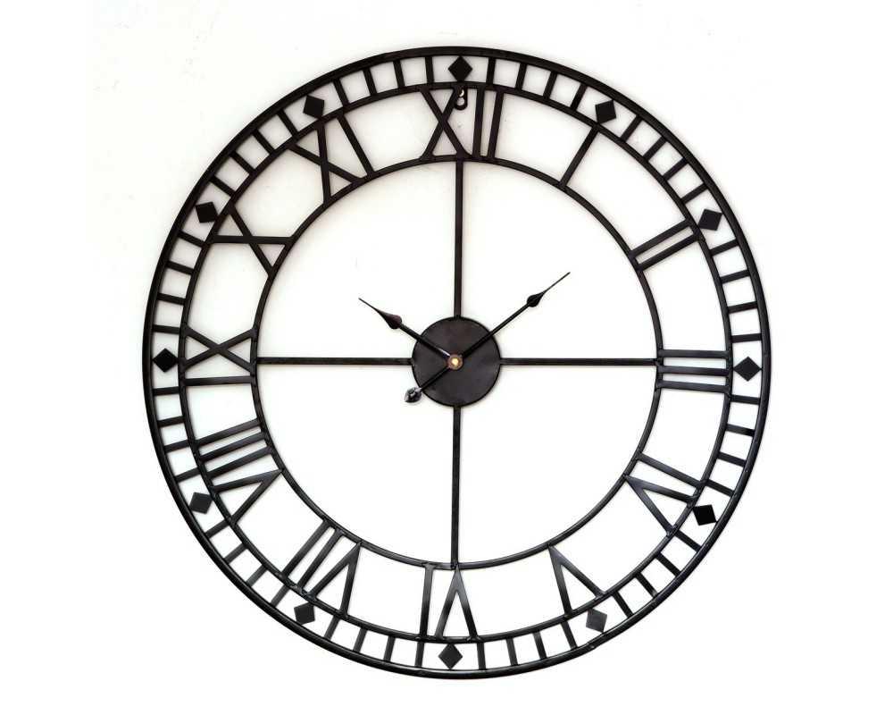Metalowy zegar ścienny VINTAGE Shabby LOFT 70 cm czarny - dekoracyjny zegar wiszący - wyposażenie wnętrz