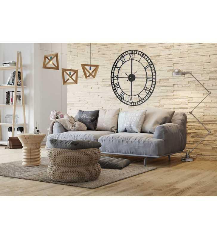 Zegar ścienny loft na ścianie w salonie