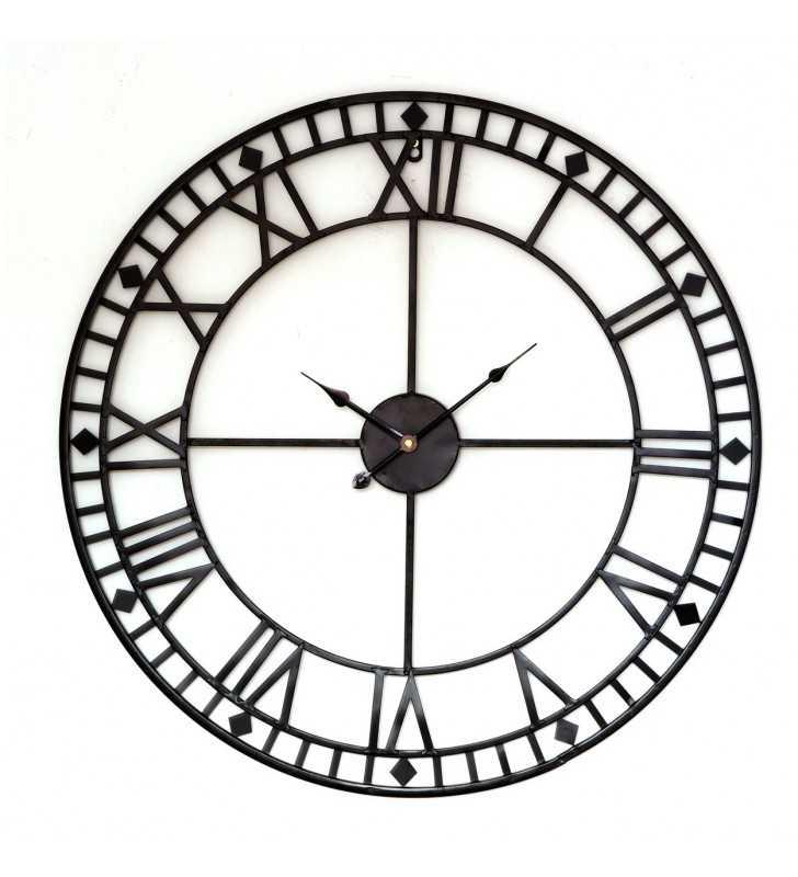 Metalowy zegar ścienny VINTAGE Shabby LOFT 80 cm czarny minuty - dekoracyjny zegar wiszący - wyposażenie wnętrz