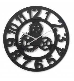 Drewniany zegar ścienny VINTAGE Shabby Loft czarny Koła zębate 45