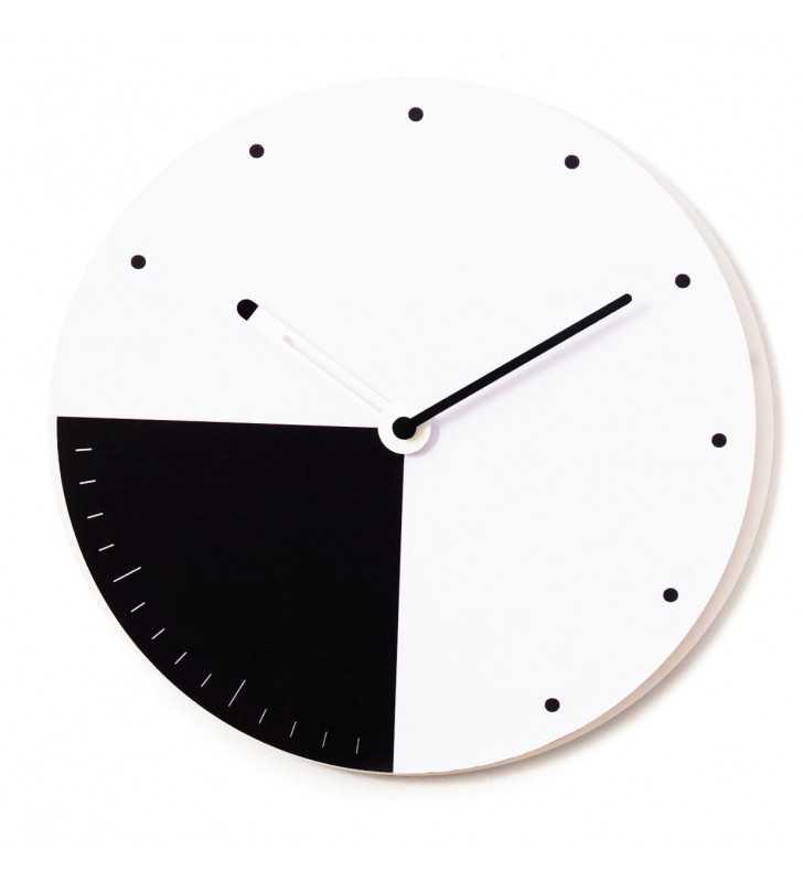 Nowoczesny designerski zegar ścienny CICHY biało czarny
