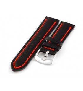 Skórzany pasek  PACIFIC W24.01R czarny z czerwonym przeszyciem