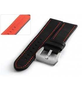 Skórzany pasek  PACIFIC W53.01R czarny z  czerwonym przeszyciem