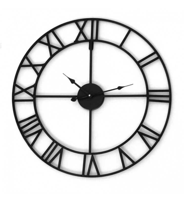 Metalowy zegar ścienny VINTAGE Shabby LOFT 58 cm czarny