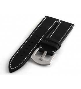 Skórzany pasek do zegarka  PACIFIC W74.01W  czarny z białym przeszyciem zamsz