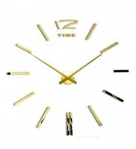 Duży zegar ścienny 3D DIY lustro 70cm-130cm 12S003 złoty