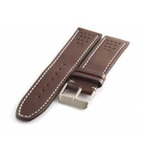 Skórzany pasek do zegarka PACIFIC W28.02W brązowy z białym przeszyciem