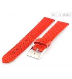 Pasek do zegarka skórzany Tekla T-030.06w2 czerwony wzór jaszczurki