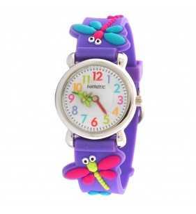 Zegarek dziecięcy fioletowy dla dziewczynki z motywem motyla