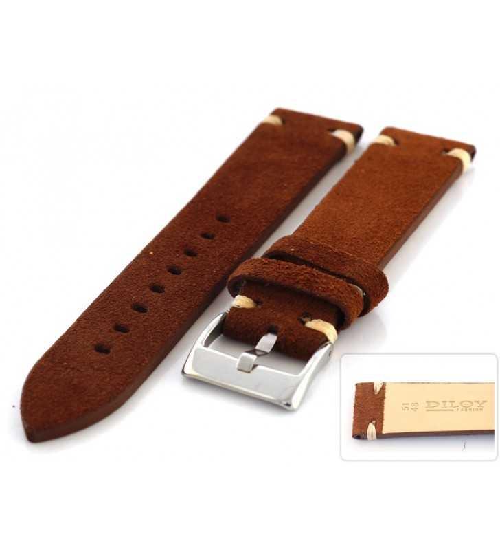 Skórzany pasek do zegarka Diloy 417.02 nubuk zamsz, pasek w kolorze brązowym 18,20,22,24