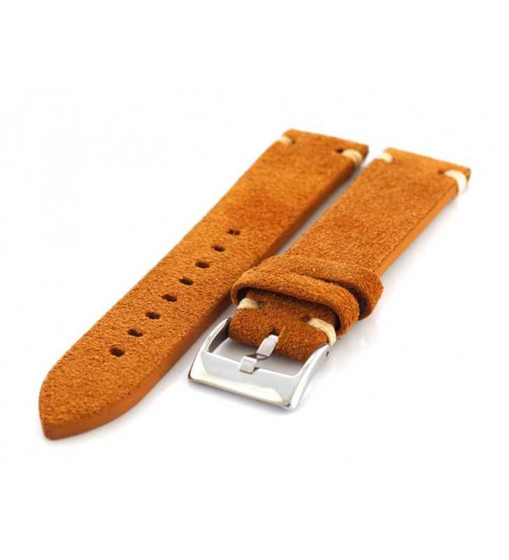 Skórzany pasek do zegarka Diloy 417.03 nubuk zamsz, pasek w kolorze jasno brązowym 18,20,22,24