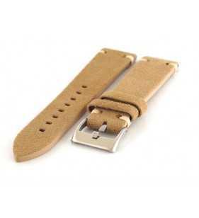 Skórzany pasek do zegarka Diloy 417.23 nubuk zamsz, pasek w kolorze beżowym18,20,22,24