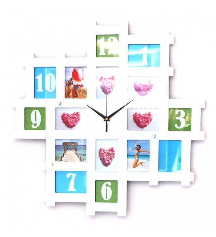 Nowoczesny zegar ścienny ramki ramka na zdjęcia 16 ramek