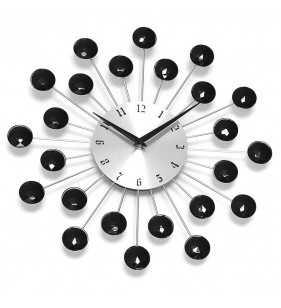 Nowoczesny zegar ścienny Nextgeneration DIAMOND 914szb, zegar z czarnymi kryształkami