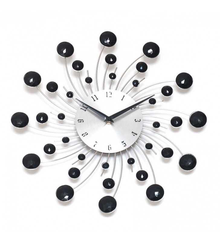 Nowoczesny zegar ścienny Nextgeneration DIAMOND 917 czarne kryształki